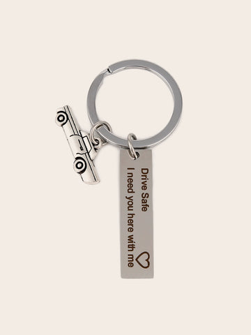 Slogan Engraved & Car Charm Keychain