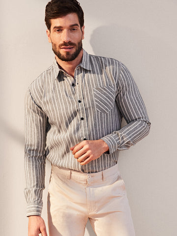 Men Striped Single Sleeve Pocket Shirt