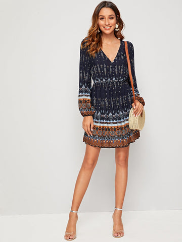 Plunge Neck Lantern Sleeve Tribal Print Dress | Amy's Cart Singapore