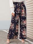 Plus Paperbag Waist Floral Print Wide Leg Pants | Amy's Cart Singapore