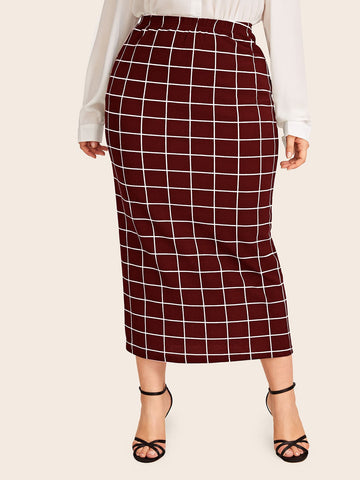 Plus Grid Pencil Skirt