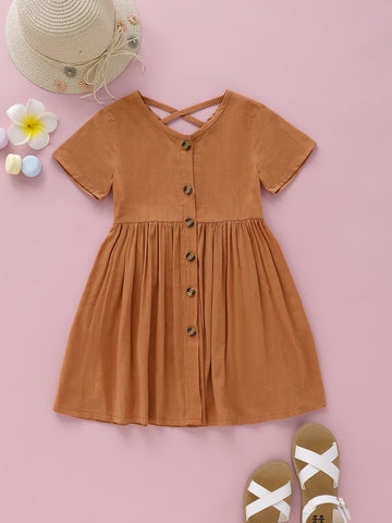 Toddler Girls Button Through Criss Cross Dress