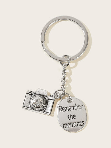 Letter Engraved & Camera Charm Keychain