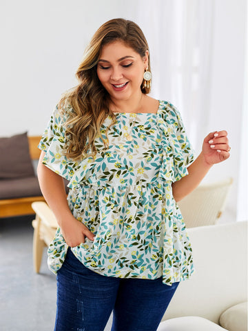 Plus Floral Print Square Neck Blouse