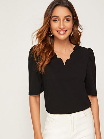 Scalloped Neck Puff Sleeve Top