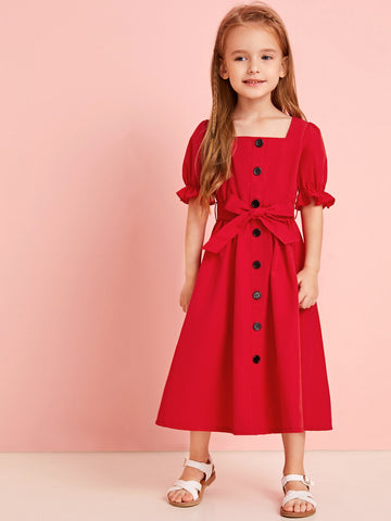 Toddler Girls Square Neck Button Front Belted A-line Dress