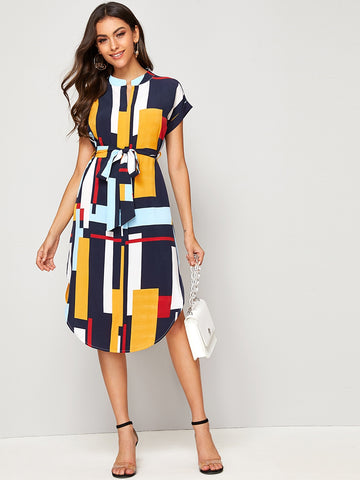 Colorful Geo Print Self Tie Curved Hem Dress