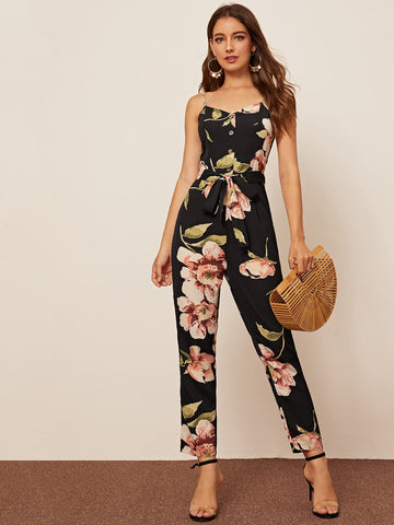 Floral Print Button Front Belted Cami Jumpsuit