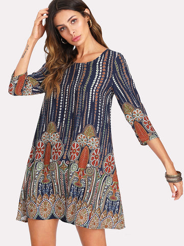 3/4 Sleeve Tribal Print Tunic Dress | Amy's Cart Singapore
