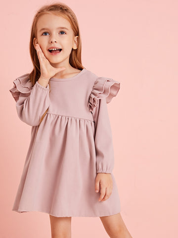 Toddler Girls Ruffle Trim Keyhole Back Dress