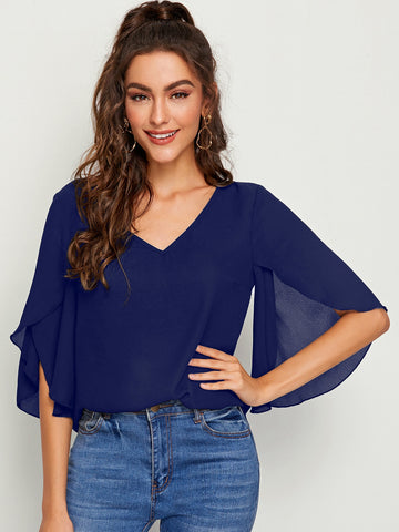 Split Sleeve Solid Top