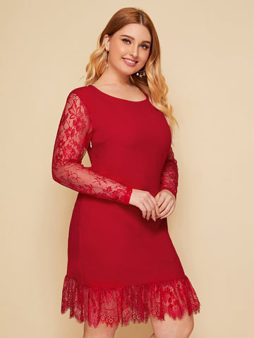 Plus Solid Lace Sleeve Ruffle Trim Dress | Amy's Cart Singapore