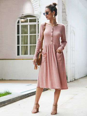 Dual Pockets Button Front Midi Sweater Dress