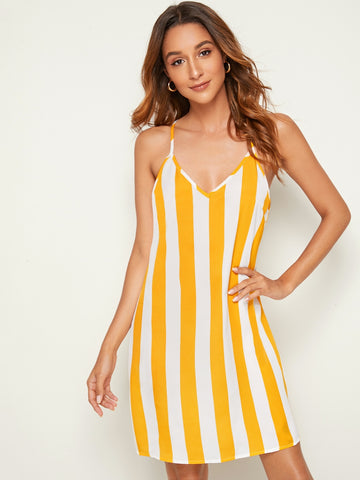 Two Tone Striped Halter Dress