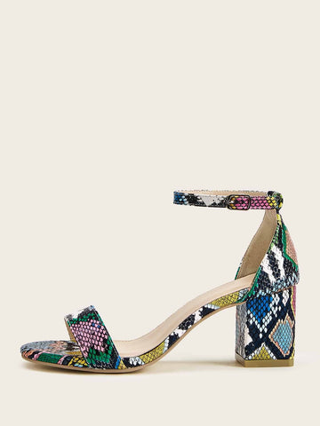 Ankle Strap Snakeskin Print Chunky Heels