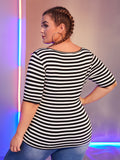 Plus Striped Form Fitted Top