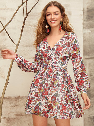 Button Front Botanical Print Dress Without Belt | Amy's Cart Singapore