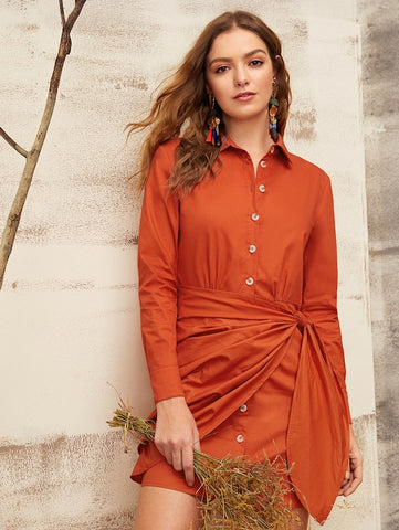 Tie Wrap Front  Shirt Dress | Amy's Cart Singapore