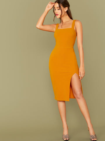 Thick Strap Slit Hem Fitted Dress Without Belt