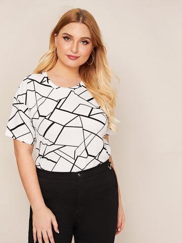 Plus Drop Shoulder Geo Print Top
