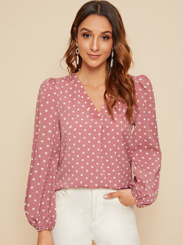 V-neck Polka Dot Lantern Sleeve Top