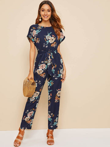 Floral Print Batwing Sleeve Belted Jumpsuit