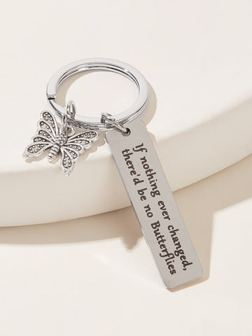 Butterfly & Letter Engraved Charm Keychain