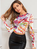 Graphic Print Lettuce Trim Sheer Top Without Bra