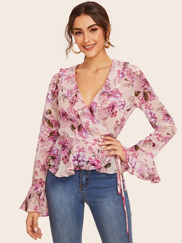 Botanical Print Ruffle Trim Tie Side Wrap Top