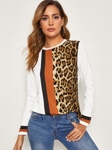 Cut-and-sew Leopard Print Top