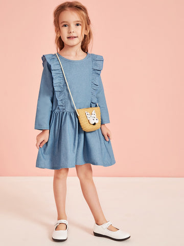 Toddler Girls Frill Trim Smock Dress Without Bag