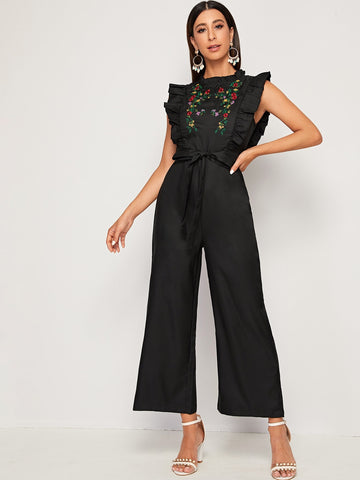 Floral Embroidered Ruffle Trim Belted Jumpsuit