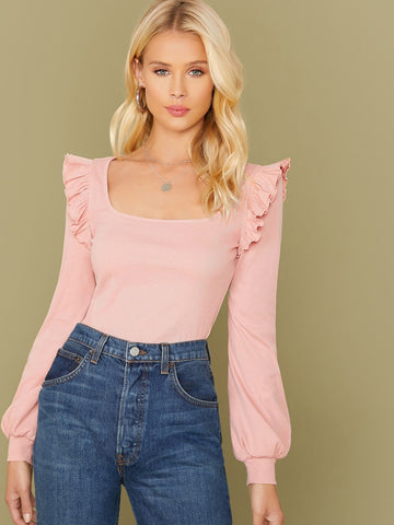 Square Neck Ruffle Trim Solid Tee