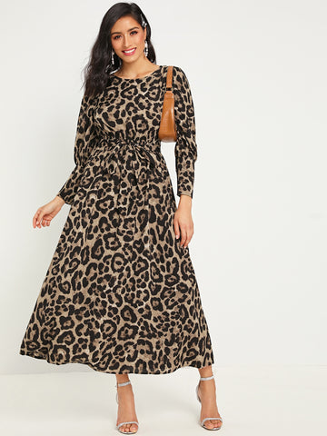 Leopard Print Belted Dress Without Bag