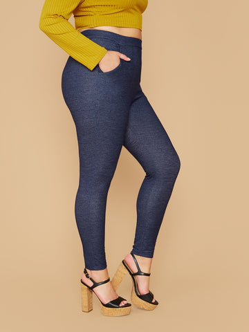 Plus Slant Pocket Leggings Without Belt