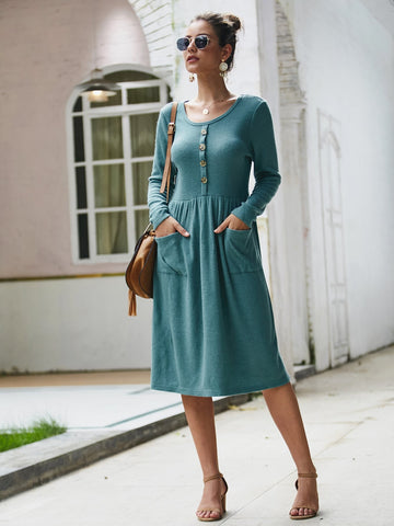 Button Detail Dual Pocket Sweater Dress