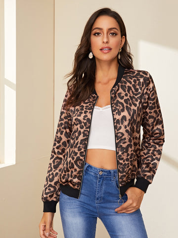 Graphic Print O-Ring Zip Bomber Jacket