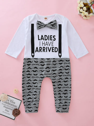 Baby Girl Slogan Graphic Bow Tie Spliced Jumpsuit