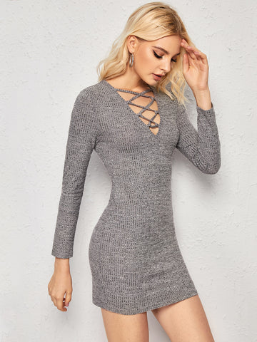 Solid Criss-cross Ribbed Bodycon Dress