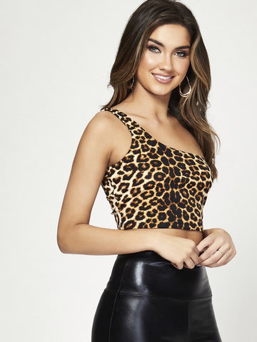 One Shoulder Leopard Print Crop Top