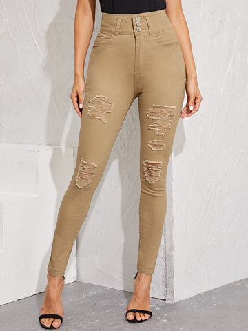 Washed Ripped High Waist Skinny Jeans