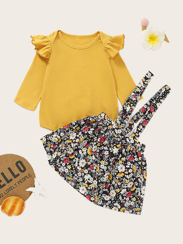 Baby Girl Ruffle Trim Top With Allover Floral Pinafore Skirt
