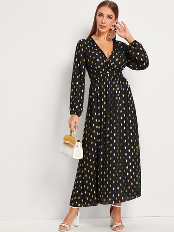 Gold Polka Dotted Surplice A-line Dress