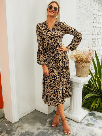 Leopard Notched Neck Knot Button Front Dress