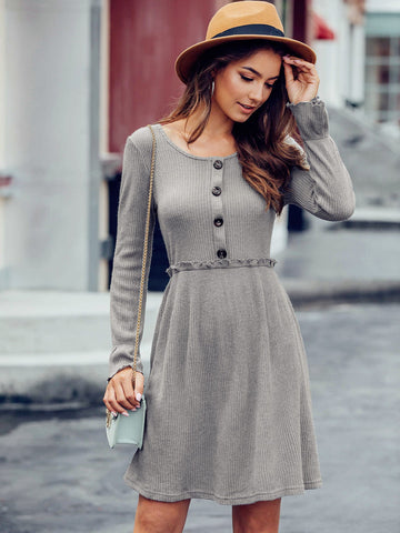 Frill Trim Flounce Sleeve Sweater Dress
