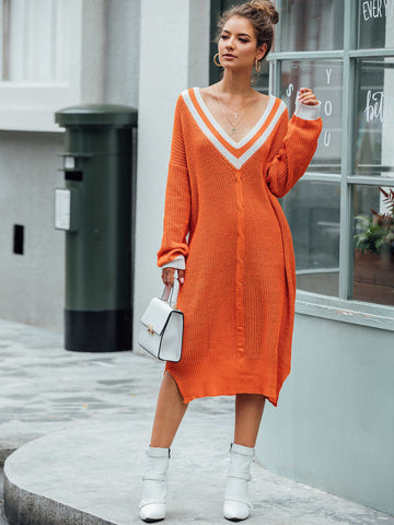 Contrast Binding V Neck Slit Hem Sweater Dress