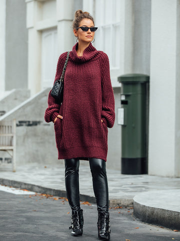 High Neck Pocket Side Sweater Dress