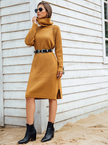 High Neck Slit Side Sweater Dress Without Belted