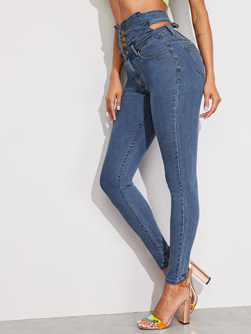 Button Fly Cutout Tie Back High Waist Jeans
