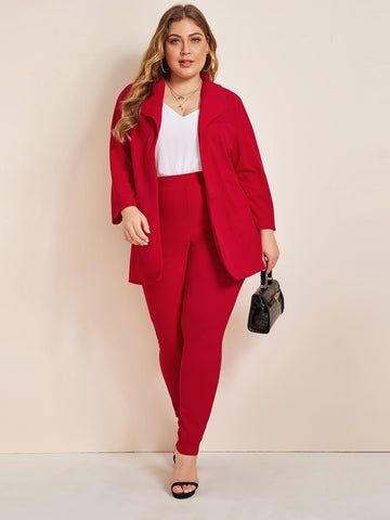 Plus Shawl Collar Open Front Blazer & Pants Set